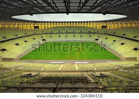 GDANSK, POLAND - FEBRUARY 7: Newly built PGE Arena stadium for 43,615 spectators. The stadium was built specifically for the Euro 2012 Championship, 2012 in Gdansk, Poland - stock photo