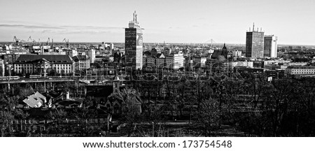 GDANSK, POLAND - JANUARY 4, 2014: Lookout Mountain Gradowa, view of the city skyline.