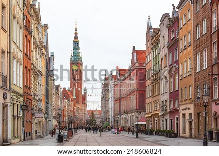 GDANSK, POLAND - JANUARY 15 2015 : Tourists and locals walking on streets in historical center of Gdansk city, Poland
