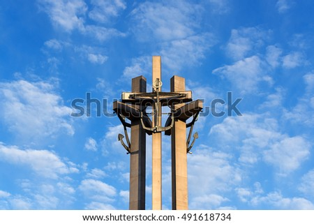 Gdansk, Poland. July 3, 2016. Three Crosses Monument at the Solidarity Square, commemorating the victims of the strike in Poland in December 1970.