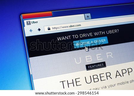 GDANSK, POLAND - JULY 21, 2015. Uber homepage on computer screen. Uber is an American international transportation network company