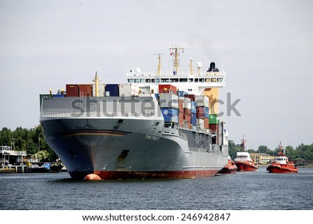 Gdansk, Poland - June 19, 2013: Container ship in the port of Gdansk in Poland on the Baltic Sea.
