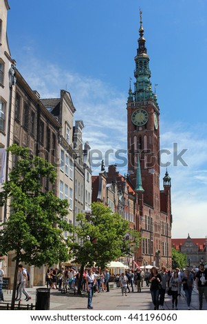 GDANSK, POLAND, JUNE 15, 2016: crowd of tourist on Dluga Street - most popular touristic place in Gda?sk with shops selling amber jewelery, souvenirs and climate restaurants.
