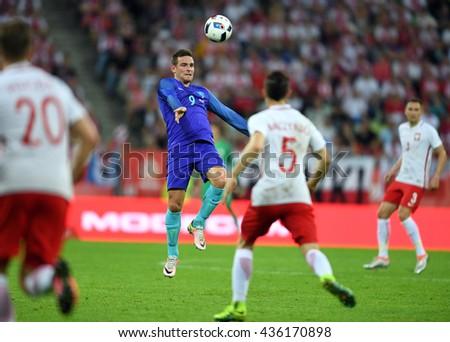 GDANSK, POLAND - JUNE 01, 2015: EURO 2016 European International Friendly Game Poland - Netherland o/p Vincent Janssen  - stock photo