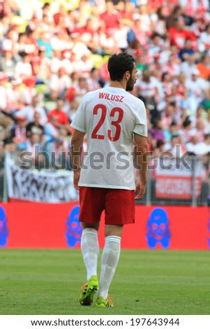GDANSK, POLAND - JUNE 6: Polish centre back Maciej Wilusz during the friendly football match between Poland and Lithuania on June 6, 2014 in Gdansk, Poland. Final result: 2:1  - stock photo