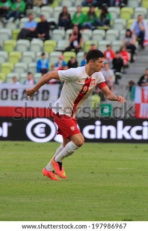 GDANSK, POLAND - JUNE 6: Robert Lewandowski (Poland) during the friendly football match between Poland and Lithuania on June 6, 2014 in Gdansk, Poland. Final result: 2:1