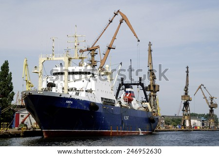Gdansk, Poland - June 19, 2013: Ship in the Sea port of Gdansk in Poland on the Baltic Sea.