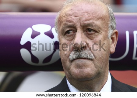 GDANSK,POLAND-JUNE 10,2012:Vicente del Bosque Gonz�¡lez during the game between Italy and Spain in Gdansk Arena on 10th June 2012