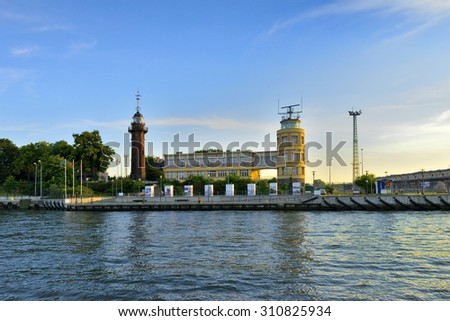 GDANSK, POLAND -  Lighthouse of Time Ball was built in 1893.. - stock photo