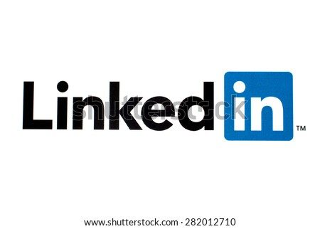 GDANSK, POLAND - MAY 26, 2015. LinkedIn logo printed on paper and placed on white background. LinkedIn is a business-oriented social networking service - stock photo