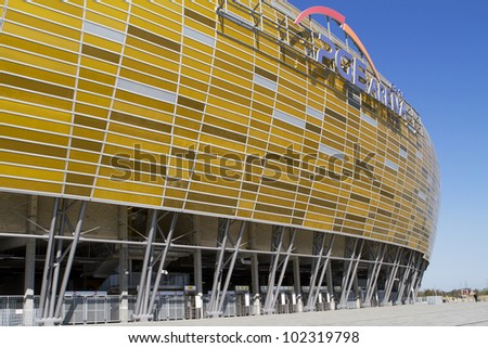 GDANSK, POLAND - MAY 01: PGE Arena is a newly built football stadium for Euro 2012 Championship. The stadium has the capacity of the stands for 43,615 spectators. May 01, 2012 in Gdansk - stock photo