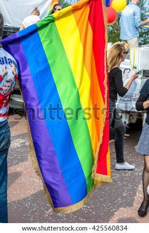 GDANSK, POLAND - MAY 21, 2016: Rainbow flag, a symbol of gay people. Equality March in Gdansk to support rights of LGBT community.