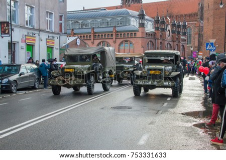 GDANSK, POLAND - NOVEMBER 11, 2017: Historical American military cars at National Independence Day in Gdansk in Poland. Celebrates 99th anniversary of independence.