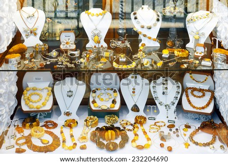 GDANSK, POLAND - OCTOBER 4: Amber jewelry and souvenirs in the old town on October 4, 2014 in Gdansk - stock photo