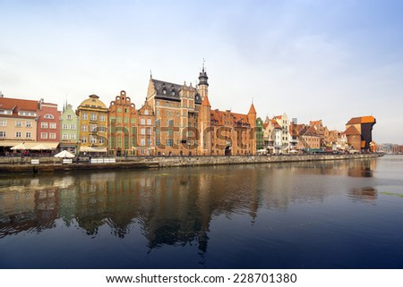 GDANSK, POLAND - OCTOBER 22, 2014: The classic view of Gdansk with the Hanseatic-style buildings reflected in the River Motlawa.