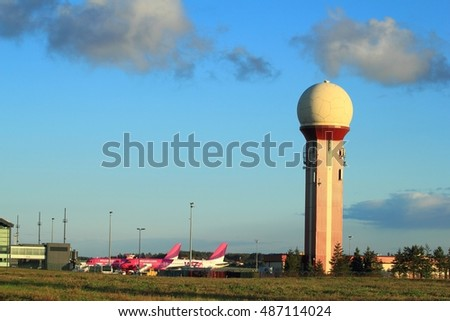 Gdansk, Poland, September 21, 2016: Air traffic control tower at the airport of Gdansk, Poland.