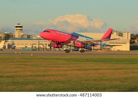 Gdansk, Poland, September 21, 2016: Plane starting from airport runway at Gdansk, Poland. Wizzair company