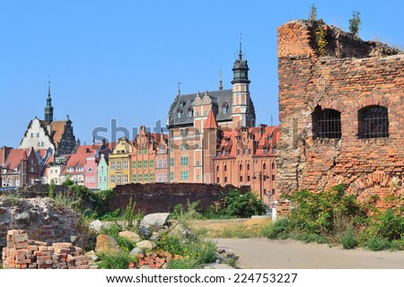 Gdansk, Polish Republic. Ruins of  historic buildings on the island Warehouses