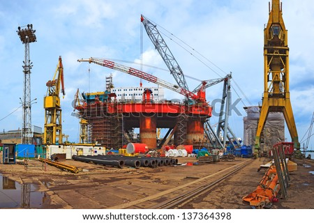 Gdansk shipyard and industrial area. - stock photo
