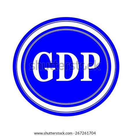 GDP white stamp text on blue - stock photo