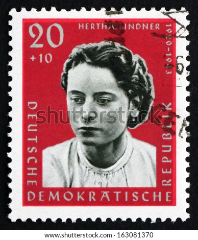 GDR - CIRCA 1961: a stamp printed in GDR shows Hertha Lindner, Resistance Fighter, circa 1961