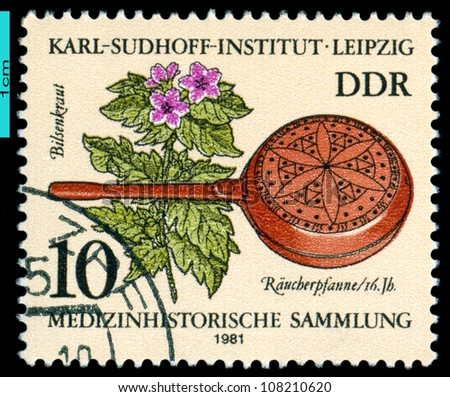 GDR - CIRCA 1981: A stamp printed in the GDR shows  Henbana, censer, 16th cent. Historic medical instruments, Karl Sudhoff Institute, Leipzig, series, circa 1981 - stock photo