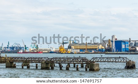 GDYNIA, POLAND - JULY 10: Overall harbor view, on July 10, 2013, in the Port of Gdynia - the third largest seaport in Poland, specialized in handling containers, ro-ro and ferry transport.