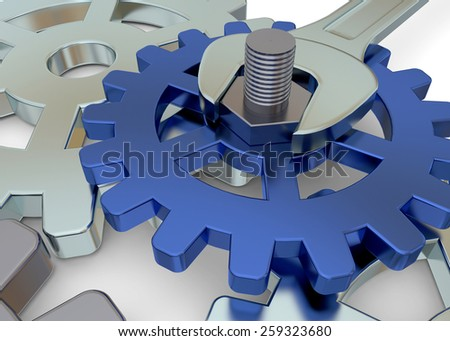 Gear and Wrench on white background - stock photo