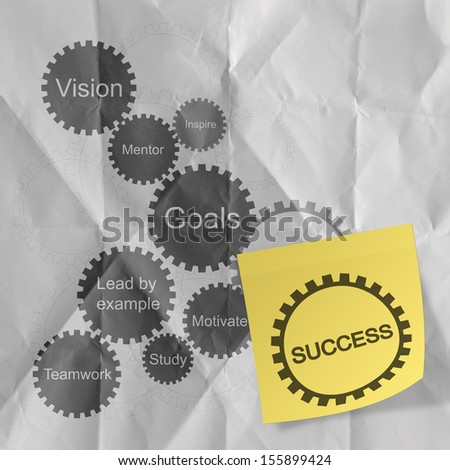 gear business success chart on sticky note with crumpled paper background as concept - stock photo