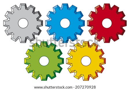 gear collection machine gear (wheel cogwheel, set of gear wheels, collection of gear) - stock photo