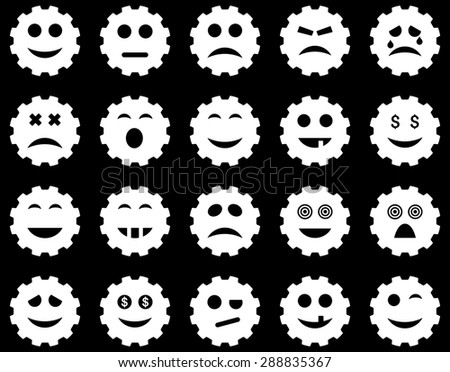 Gear emotion icons. Glyph set style: flat images, white symbols, isolated on a black background.