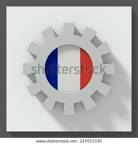Gear flat design with flag of france