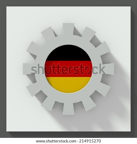 Gear flat design with flag of germany - stock photo