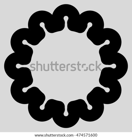 Gear glyph icon. Style is stroke flat icon symbol, black color, light gray background.