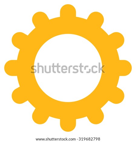 Gear icon from Primitive Set. This isolated flat symbol is drawn with yellow color on a white background, angles are rounded. - stock photo