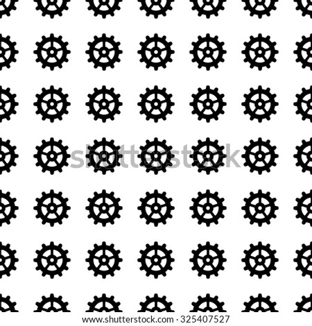gear icon seamless pattern, tiling ornament on white.