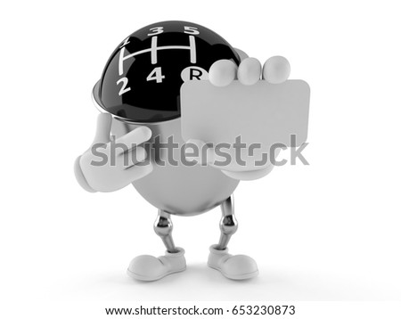 Gear knob character holding blank business card isolated on white background. 3d illustration