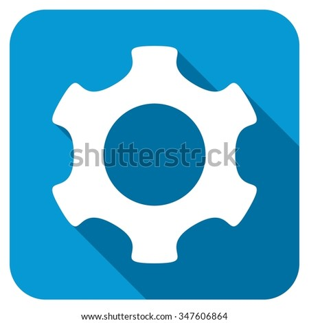 Gear longshadow icon. Style is a blue rounded square button with a white rounded symbol with long shadow. - stock photo