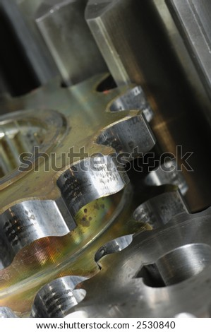 gear machinery in natural color, connecting