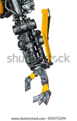 Gear machinery part robot on white background - stock photo