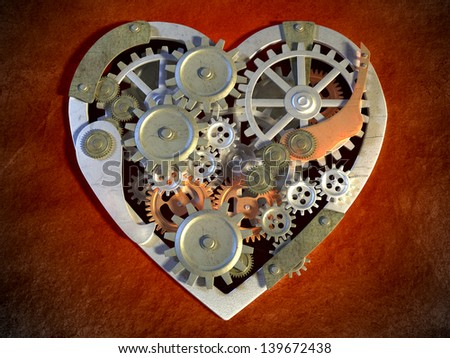 Gear mechanism creating an heart shape. Digital illustration. - stock photo