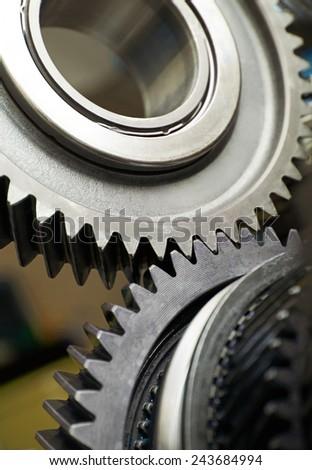 Gear metal wheels close-up - stock photo