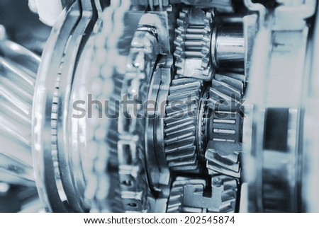 gear set crosssection - stock photo
