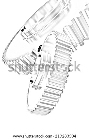 gear set on a white background. Pencil drawing