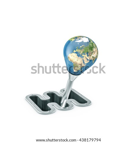 Gear shift Earth / 3D illustration of planet Earth as gear stick handle - stock photo
