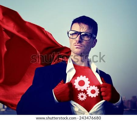 Gear Strong Superhero Success Professional Empowerment Stock Concept - stock photo