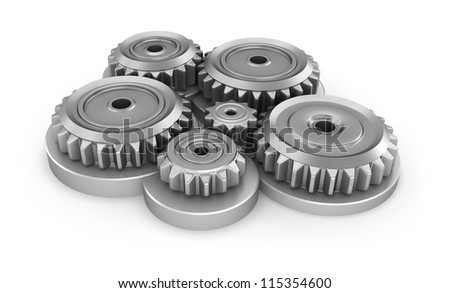 Gear system over white - stock photo