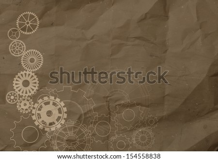 gear to success concept on crumpled recycle paper background as concept - stock photo