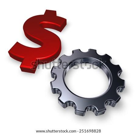 gear wheel and dollar symbol - 3d illustration - stock photo