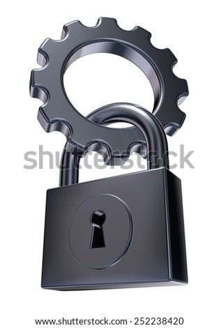 gear wheel and padlock on white background - 3d illustration - stock photo